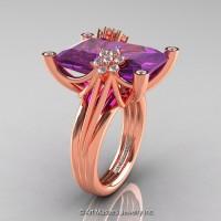 Modern Bridal 14K Rose Gold Radiant Cut 15.0 Ct Amethyst Diamond Fantasy Cocktail Ring R292-14KRGDAM