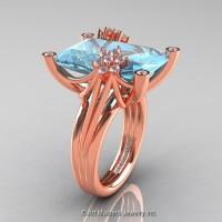 Modern Bridal 14K Rose Gold Radiant Cut 15.0 Ct Aquamarine Fantasy Cocktail Ring R292-14KRGDAQ