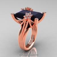 Modern Bridal 14K Rose Gold Radiant Cut 15.0 Ct Black and White Diamond Fantasy Cocktail Ring R292-14KRGDBD