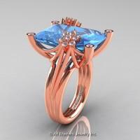 Modern Bridal 14K Rose Gold Radiant Cut 15.0 Ct Blue Topaz Fantasy Cocktail Ring R292-14KRGDBT