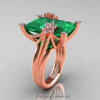 Modern Bridal 14K Rose Gold Radiant Cut 15.0 Ct Emerald Fantasy Cocktail Ring R292-14KRGDEM