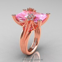 Modern Bridal 14K Rose Gold Radiant Cut 15.0 Ct Light Pink Sappihre Diamond Fantasy Cocktail Ring R292-14KRGDLPS