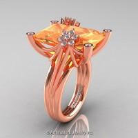 Modern Bridal 14K Rose Gold Radiant Cut 15.0 Ct Peach Sapphire Diamond Fantasy Cocktail Ring R292-14KRGDPES
