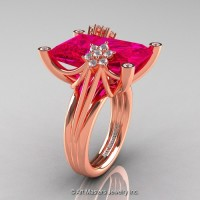 Modern Bridal 14K Rose Gold Radiant Cut 15.0 Ct Rose Ruby Fantasy Cocktail Ring R292-14KRGDRR