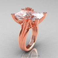 Modern Bridal 14K Rose Gold Radiant Cut 15.0 Ct White Sapphire Diamond Fantasy Cocktail Ring R292-14KRGDWS