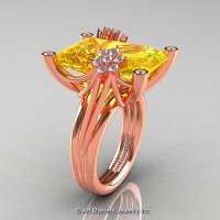 Modern Bridal 14K Rose Gold Radiant Cut 15.0 Ct Yellow Sapphire Diamond Fantasy Cocktail Ring R292-14KRGDYS