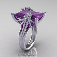 Modern Bridal 14K White Gold Radiant Cut 15.0 Ct Amethyst Diamond Fantasy Cocktail Ring R292-14KWGDAM