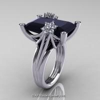 Modern Bridal 14K White Gold Radiant Cut 15.0 Ct Black and White Diamond Fantasy Cocktail Ring R292-14KWGDBD