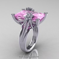 Modern Bridal 14K White Gold Radiant Cut 15.0 C Light Pink Sapphire Diamond Fantasy Cocktail Ring R292-14KWGDLPS