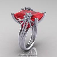 Modern Bridal 14K White Gold Radiant Cut 15.0 Ct Ruby Diamond Fantasy Cocktail Ring R292-14KWGDR