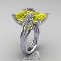 Modern Bridal 14K White Gold Radiant Cut 15.0 Ct Yellow Sapphire Diamond Fantasy Cocktail Ring R292-14KWGDYS