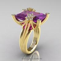 Modern Bridal 14K Yellow Gold Radiant Cut 15.0 Ct Amethyst Diamond Fantasy Cocktail Ring R292-14KYGDAM
