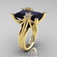 Modern Bridal 14K Yellow Gold Radiant Cut 15.0 Ct Black and White Diamond Fantasy Cocktail Ring R292-14KYGDBD