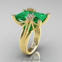 Modern Bridal 14K Yellow Gold Radiant Cut 15.0 Ct Emerald Diamond Fantasy Cocktail Ring R292-14KYGDEM