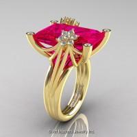 Modern Bridal 14K Yellow Gold Radiant Cut 15.0 Ct Rose Ruby Diamond Fantasy Cocktail Ring R292-14KYGDRR