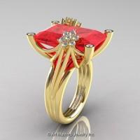 Modern Bridal 14K Yellow Gold Radiant Cut 15.0 Ct Ruby Diamond Fantasy Cocktail Ring R292-14KYGDR