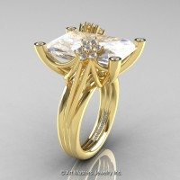 Modern Bridal 14K Yellow Gold Radiant Cut 15.0 Ct White Sapphire Diamond Fantasy Cocktail Ring R292-14KYGDWS