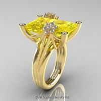 Modern Bridal 14K Yellow Gold Radiant Cut 15.0 Ct Yellow Sapphire Diamond Fantasy Cocktail Ring R292-14KYGDYS