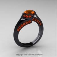 Exclusive French 14K Black Gold 1.0 Ct Orange Sapphire Engagement Ring Wedding Ring R376-14KBGOS
