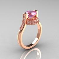 Modern Italian 14K Rose Gold 1.5 CT Light Pink Sapphire Diamond Engagement Ring AR119-14KRGLPS