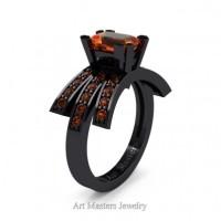Victorian Inspired 14K Black Gold 1.0 Ct Emerald Cut Orange Sapphire Wedding Ring Engagement Ring R344-14KBGOS