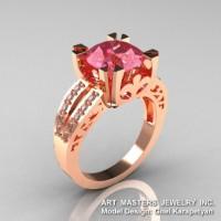 Modern Vintage 14K Rose Gold 3.0 Ct Light Tourmaline Diamond Solitaire Ring R102-14KRGDLT