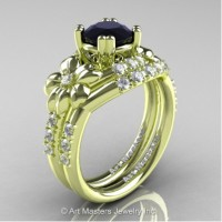 Nature Inspired 14K Green Gold 1.0 Ct Black and White Diamond Leaf and Vine Engagement Ring Wedding Band Set R245S-14KGRGDBD