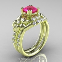 Nature Inspired 14K Green Gold 1.0 Ct Pink Sapphire Diamond Leaf and Vine Engagement Ring Wedding Band Set R245S-14KGRGDPS