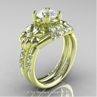 Nature Inspired 14K Green Gold 1.0 Ct White Sapphire Diamond Leaf and Vine Engagement Ring Wedding Band Set R245S-14KGRGDWS