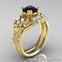 Nature Inspired 14K Yellow Gold 1.0 Ct Black and White Diamond Leaf and Vine Engagement Ring Wedding Band Set R245S-14KYGDBD