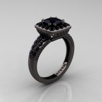 Renaissance Classic 14K Black Gold 1.23 CT Princess Black Diamond Engagement Ring R220P-14KBGBD