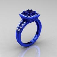 Renaissance Classic 14K Blue Gold 1.23 CT Princess Blue Sapphire Diamond Engagement Ring R220P-14KBLGDBS