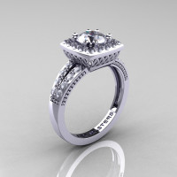 Renaissance Classic 14K White Gold 1.0 CT Round Cubic Zirconia Diamond Engagement Ring R220-14KWGDCZ
