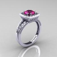 Renaissance Classic 14K White Gold 1.0 Carat Pink Sapphire Diamond Engagement Ring R220-14KWGDPS