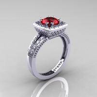 Renaissance Classic 14K White Gold 1.0 Carat Rubies Diamond Engagement Ring R220-14KWGDR