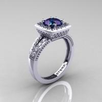Renaissance Classic 14K White Gold 1.20 Carat Alexandrite Diamond Engagement Ring R220-14KWGDAL