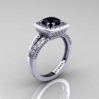 Renaissance Classic 14K White Gold 1.23 CT Princess Black and White Diamond Engagement Ring R220P-14KWGDBD