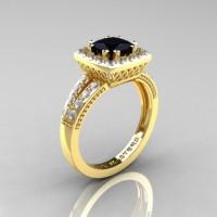 Renaissance Classic 18K Yellow Gold 1.23 CT Princess Black and White Diamond Engagement Ring R220P-18KYGDBD