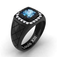 Mens Modern 14K Black Gold 1.25 Ct Princess Blue Topaz Diamond Wedding Ring R1131-14KBGDBT