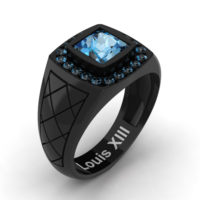 Mens Modern 14K Black Gold 1.25 Ct Princess Blue Topaz Wedding Ring R1131-14KBGBT