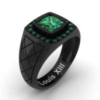 Mens Modern 14K Black Gold 1.25 Ct Princess Emerald Wedding Ring R1131-14KBGEM