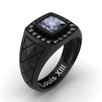 Mens Modern 14K Black Gold 1.25 Ct Princess Grey Sapphire Wedding Ring R1131-14KBGGS