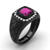Mens Modern 14K Black Gold 1.25 Ct Princess Pink Sapphire Diamond Wedding Ring R1131-14KBGDPS by Art Masters Jewelry