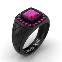 Mens Modern 14K Black Gold 1.25 Ct Princess Pink Sapphire Wedding Ring R1131-14KBGPS