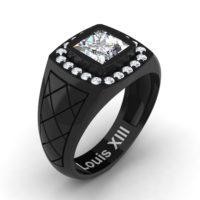 Mens Modern 14K Black Gold 1.25 Ct Princess White Sapphire Diamond Wedding Ring R1131-14KBGDWS