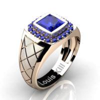Mens Modern 14K Rose Gold 1.25 Ct Princess Blue Sapphire Wedding Ring R1131-14KSRGBSMens Modern 14K Rose Gold 1.25 Ct Princess Blue Sapphire Wedding Ring R1131-14KSRGBS