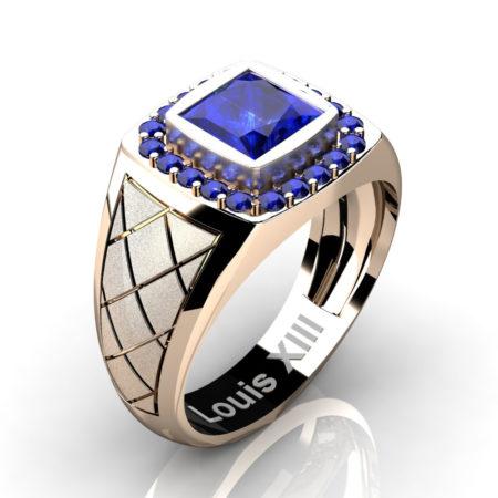 Louis-XIII-Modern-14K-Rose-Gold-1-25-Carat-Princess-Blue-Sapphire-edding-Ring-R1131-14KRGBS3
