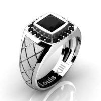Mens Modern 14K White Gold 1.25 Ct Princess Black Diamond Wedding Ring R1131-14KSWGBD