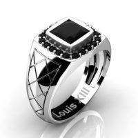 Mens Modern 14K White Gold 1.25 Ct Princess Black Diamond Wedding Ring R1131-14KWGBD