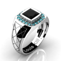 Mens Modern 14K White Gold 1.25 Ct Princess Black Accent Blue Diamond Wedding Ring R1131-14KWGBLDBD